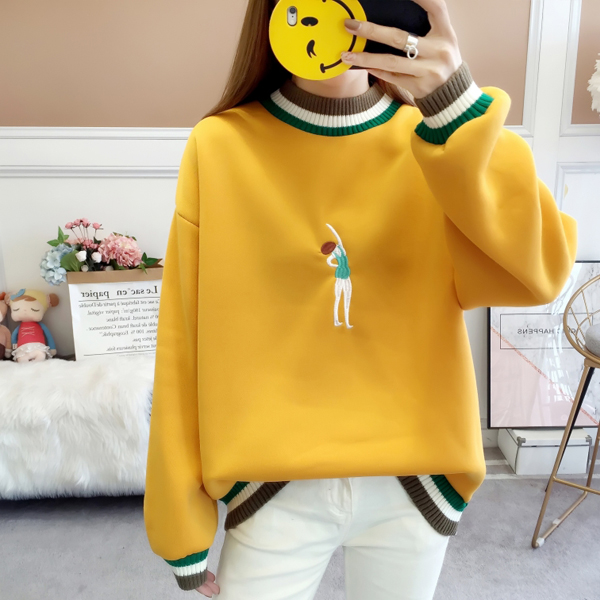 Embroidered Lady Contrast Loose Solid T-Shirt - Yellow