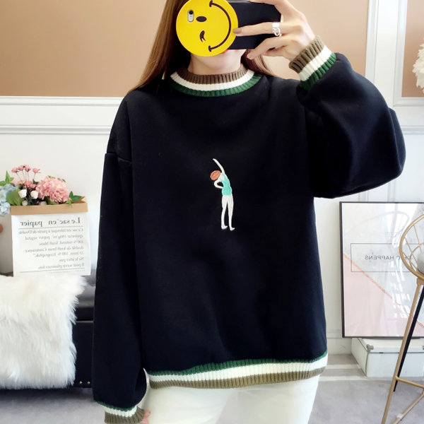 Embroidered Lady Contrast Loose Solid T-Shirt - Black