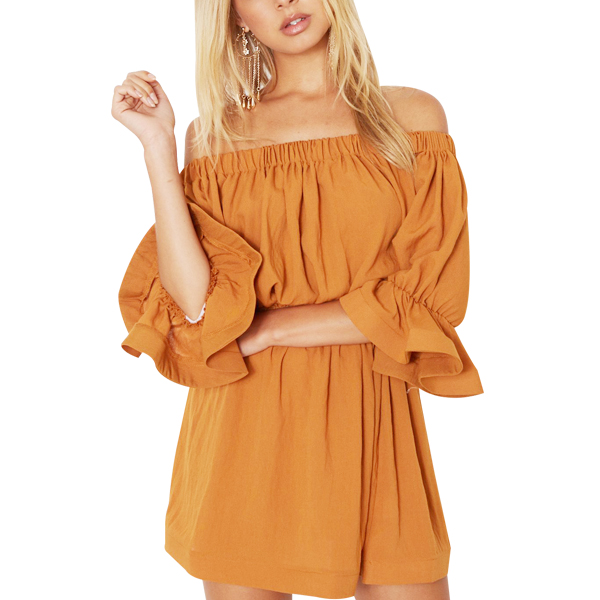 Off Shoulder Flower Sleeves Mini Orange Dress