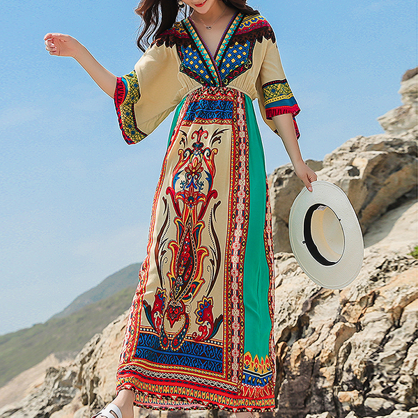 Bohemian Prints V Neck Summer Long Dress
