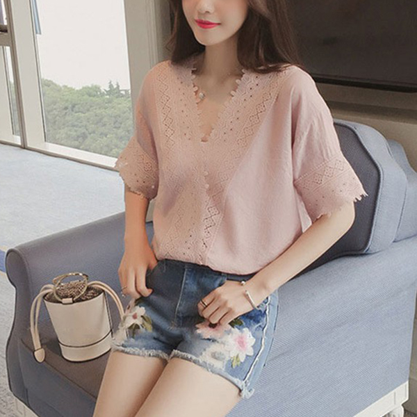 Wrapped Lace Hollow Loose Formal Blouse Shirt - Pink