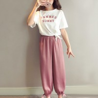 Round Neck Casual Wear Two Pieces Trouser With T-Shirt - Pink