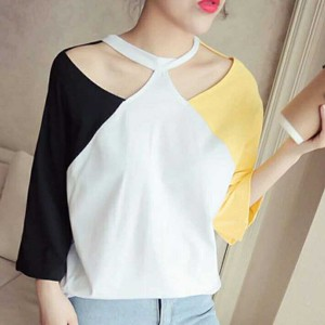 Halter Neck Multi Patchwork Colorful T-Shirt - Yellow