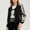 Printed Sleeves Casual Outwear Jacket - Black