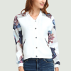 Printed Sleeves Casual Outwear Jacket - White