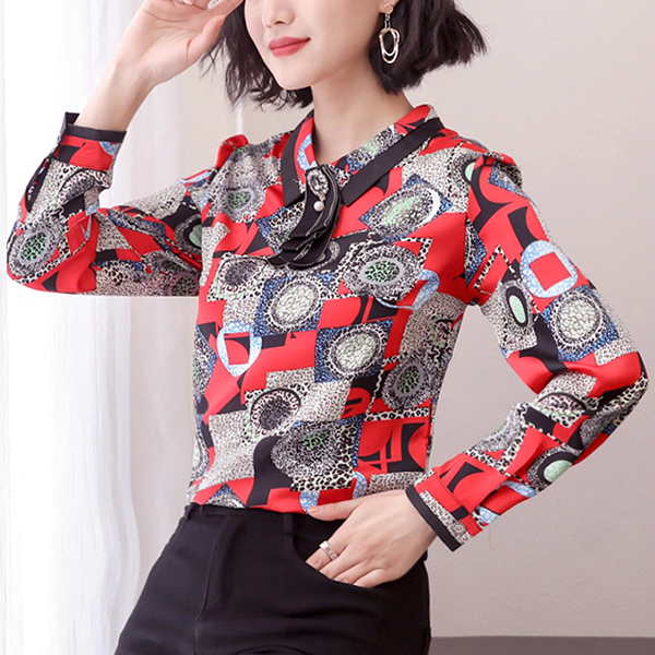 Bohemian Prints Shirt Collar Fancy Blouse - Red