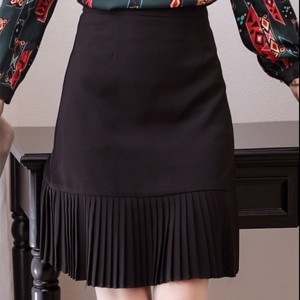 Pleated Hem Ruffled Solid Color Skirt - Black