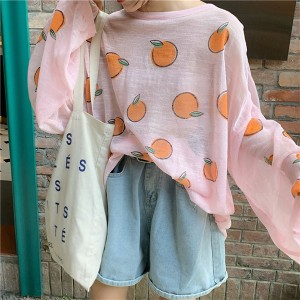 Orange Prints Loose Summer Wear Blouse Top - Pink