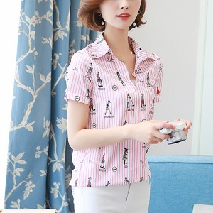 Striped Printed Short Sleeves Summer Shirt - Pink