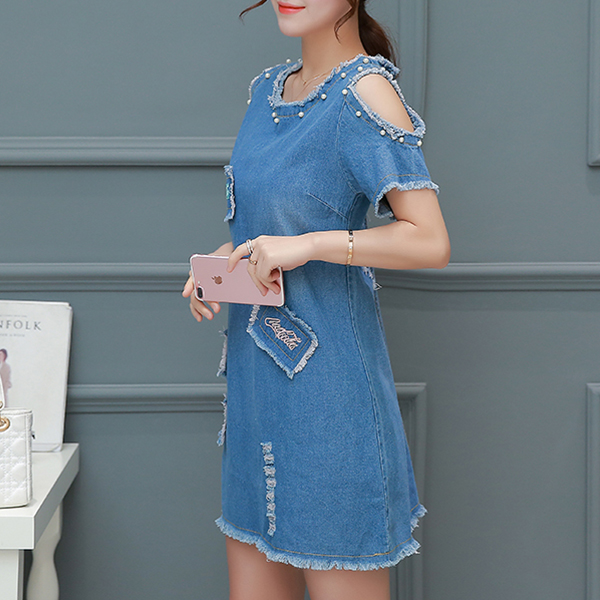 Pearl Decorative Cold Shoulder Tassel Denim Dress