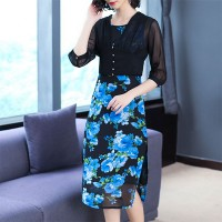 Two Pieces Floral Prints Outwear With Midi Dress