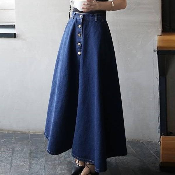 Denim Buckle Waist Belt Button Up Pleated Skirt