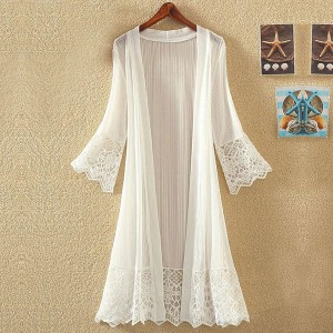 Transparent Chiffon Boho Long Cardigan - White