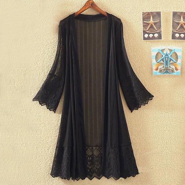 Transparent Chiffon Boho Long Cardigan - Black