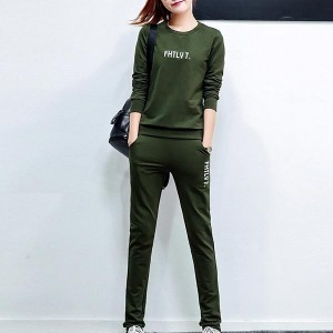 Long Sleeve Round Neck Slim Cotton Women Dresses - Green
