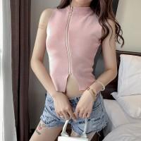 Zipper O Neck Sleeveless Ribbed Top - Pink