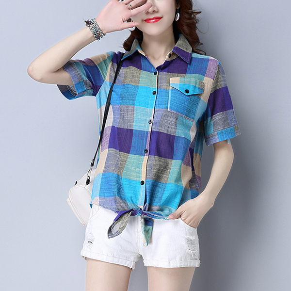 Front Pocket Blue Checks Printed Shirt