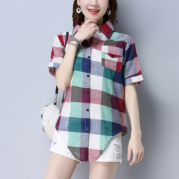 Front Pocket Multicolor Checks Printed Shirt