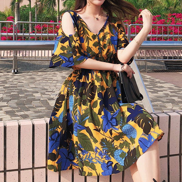 Printed Frill Sleeves V Neck Beach Dress - Multicolor