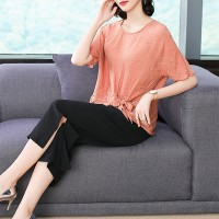 Crushed Pattern Round Neck Blouse With Bottom - Pink