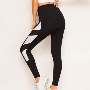 Contrast Running Hot Zipper Yoga Tights - Black