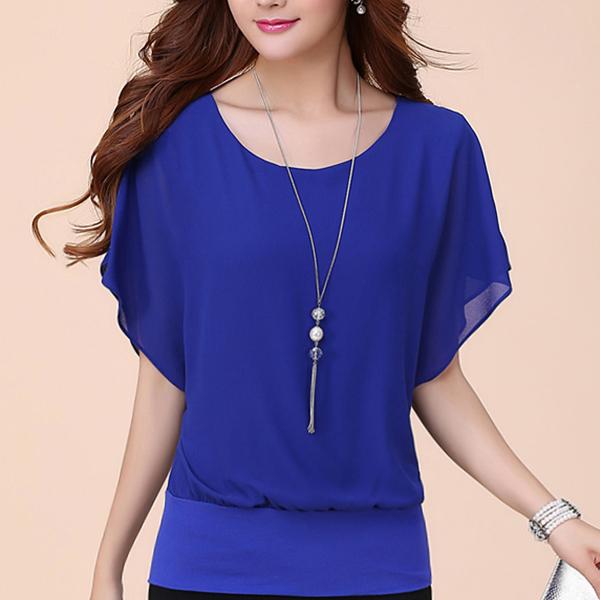 Regular Loose Blue T-Shirt Blouse For Women