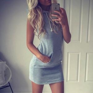 Dual Pocket Grey Hoodie Bodycon Mini Dress