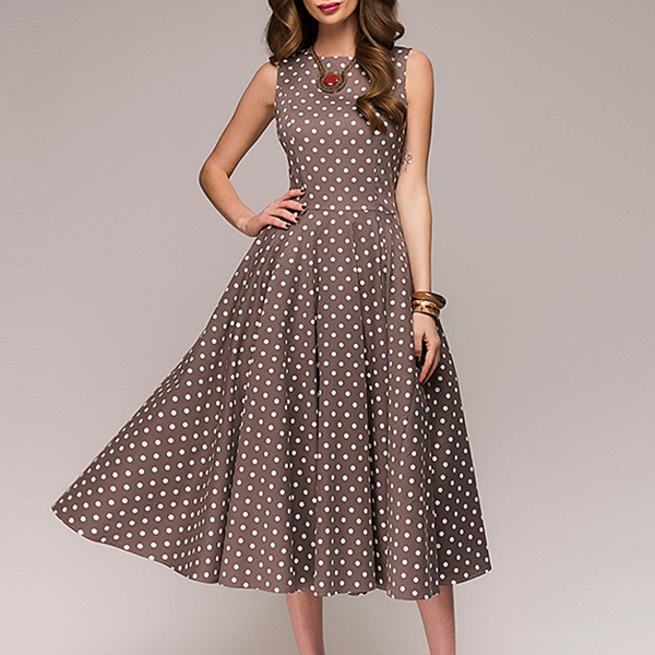 Round Neck Polka Dots Brown A-Line Dress