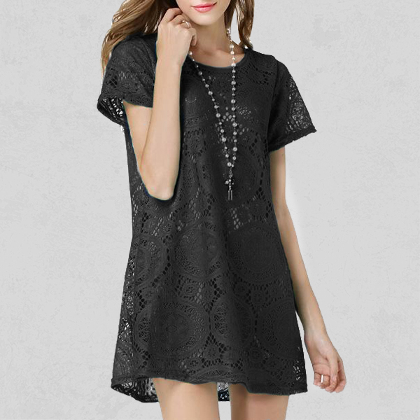 Summer Floral Lace Pattern Mini Dress - Black