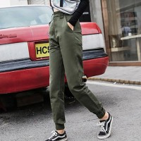 Loose High Waist Cotton Thick Women Trousers - Army Green
