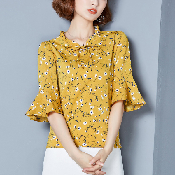 Floral Prints Frill Neck Mini Top - Yellow