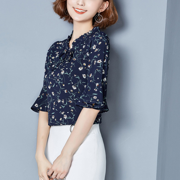 Floral Prints Frill Neck Mini Top - Dark Blue