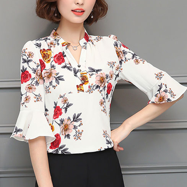 Frill Sleeves Floral Prints Shirt - White