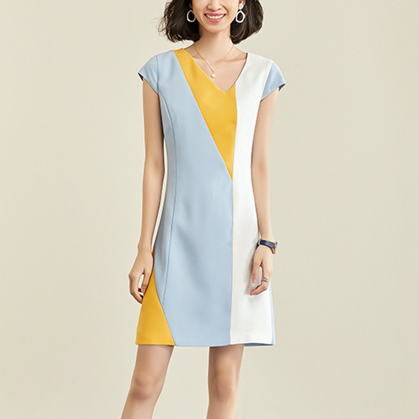 Colorful Patched V Neck Cap Sleeved Mini Dress