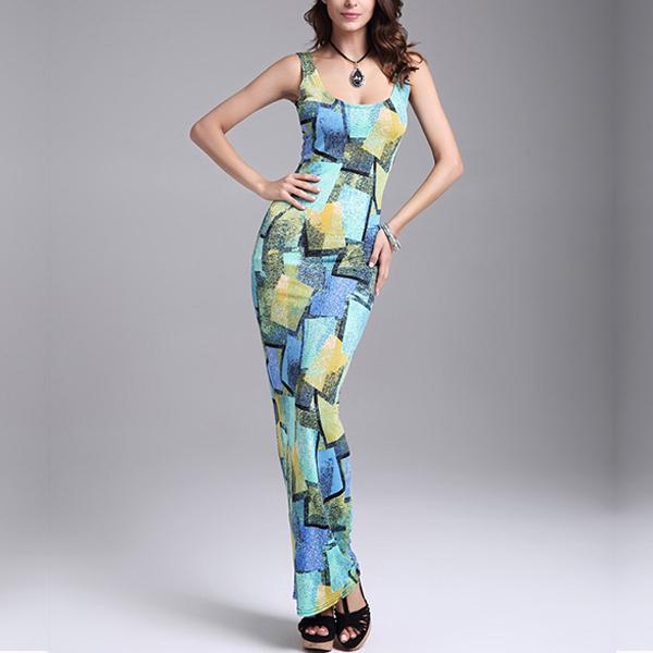 Blue Contrast Shapes Pattern Slim Maxi Dress
