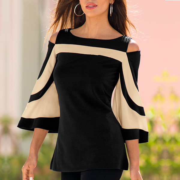 Bat Sleeves Contrast Black Top - Khaki