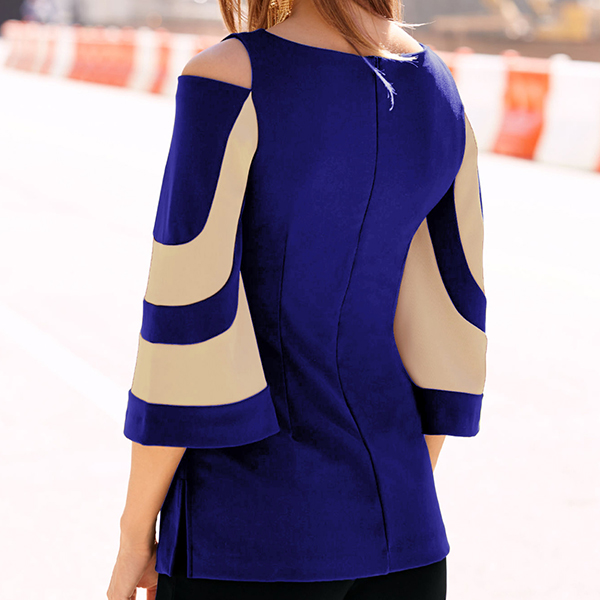 Bat Sleeves Contrast Blue Top - Khaki