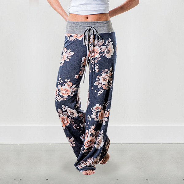 Rose Prints String Waist Casual Bottoms - Blue