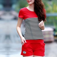Striped Contrast Shorts Bottom With T-Shirt - Red
