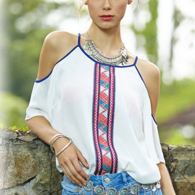Cold Shoulder Bohemian Contrast White Top