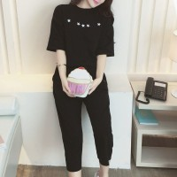 Round Neck Star Prints T-Shirt With Trousers - Black