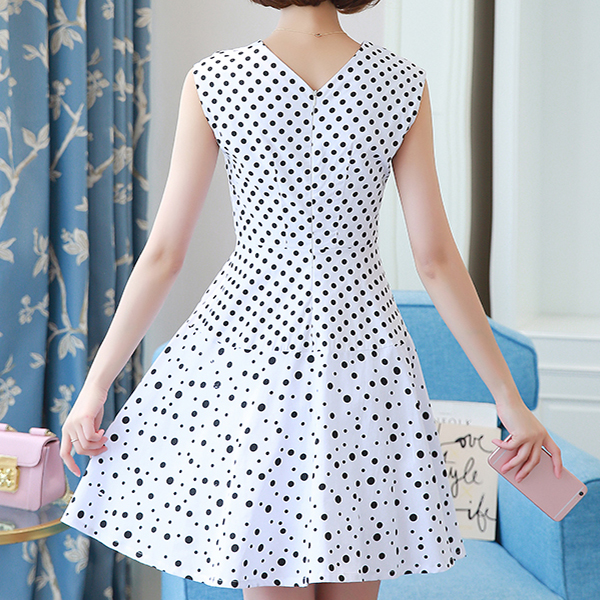 Polka Prints Sleeveless V Neck Mini Dress