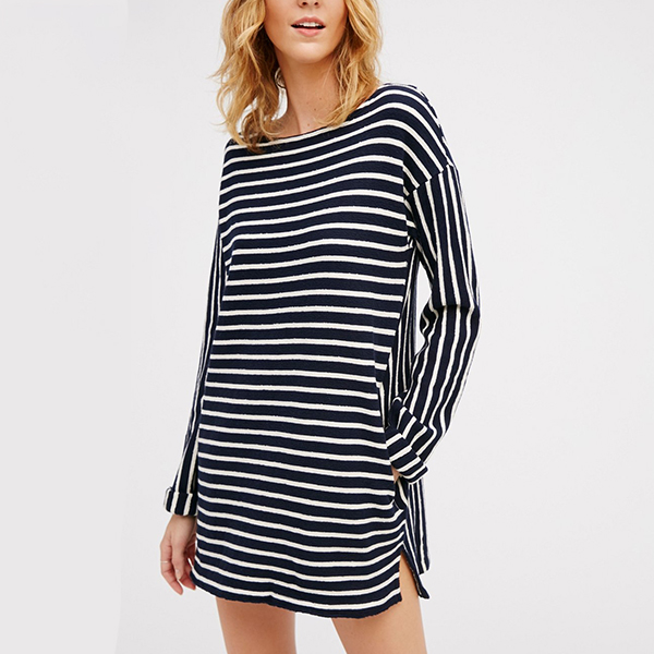 Black And White Stripe Pattern Large T-Shirt Casual Dress