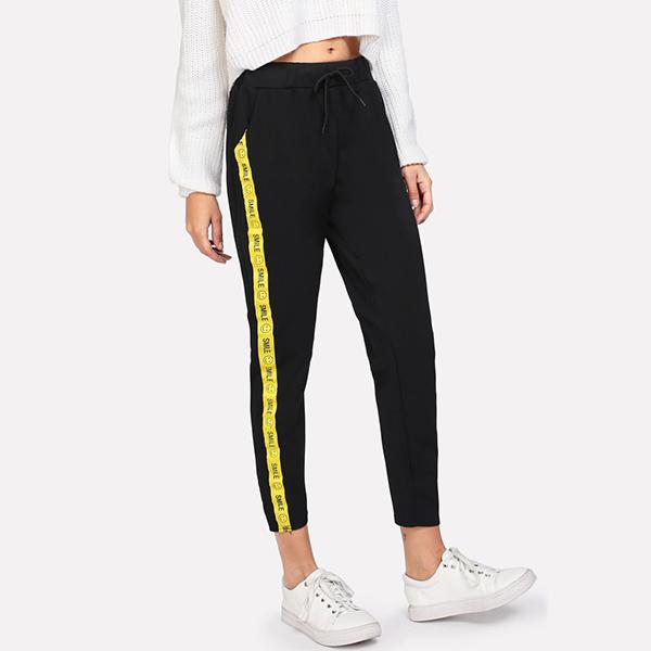 Smiley Yellow Striped Black Slim Trousers