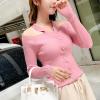 Halter Neck Knitted Full Sleeves T-Shirt - Pink