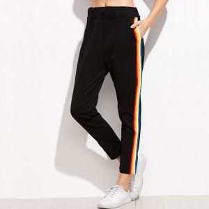 Multicolor Striped Black Sports Trouser