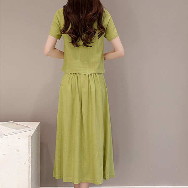 Short Sleeves Round Neck Pleated Two Piece Suit - Green