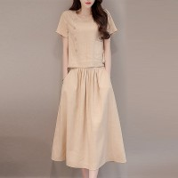 Short Sleeves Round Neck Pleated Two Piece Suit - Apricot