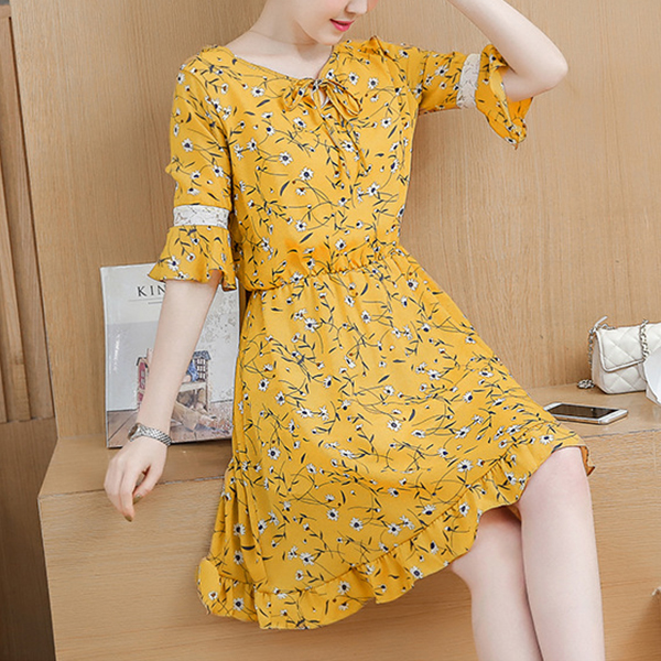 Frilled Hem Mini Floral Casual Dress - Yellow