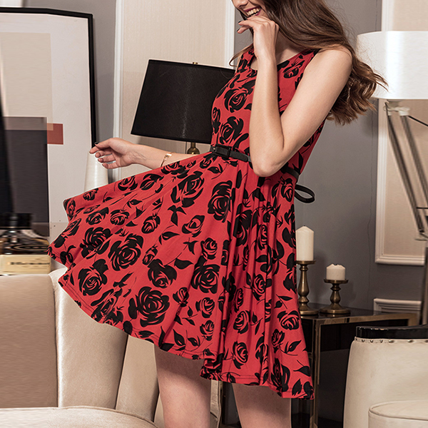 Rose Prints A-Line Mini Party Dress - Red